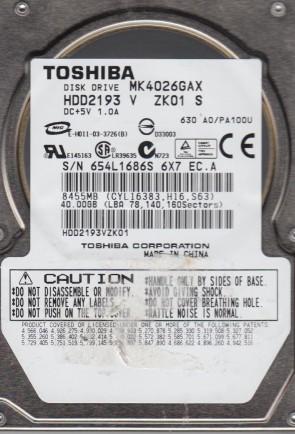 MK4026GAX, A0/PA100U, HDD2193 V ZK01 S, Toshiba 40GB IDE 2.5 Hard Drive