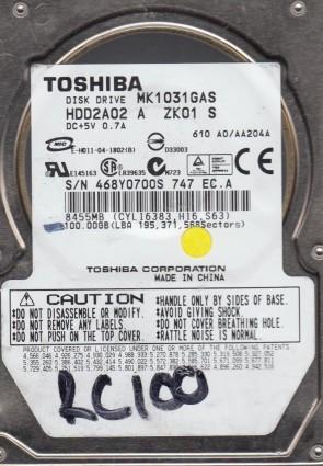 MK1031GAS, A0/AA204A, HDD2A02 A ZK01 S, Toshiba 100GB IDE 2.5 Hard Drive