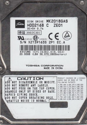 MK2018GAS, A1/Q2.03E, HDD2168 C ZE01, Toshiba 20GB IDE 2.5 Hard Drive