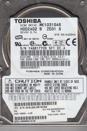 MK1031GAS, D0/AA204A, HDD2A02 B ZE01 S, Toshiba 100GB IDE 2.5 Hard Drive