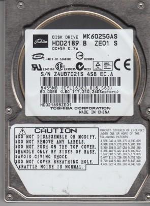 MK6025GAS, B0/KA200K, HDD2189 B ZE01 S, Toshiba 60GB IDE 2.5 Hard Drive