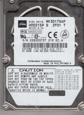 MK3017GAP, C0/A0.06H, HDD2159 G ZF01 T, Toshiba 30GB IDE 2.5 Hard Drive