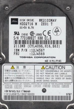 MK2103MAV, A0/D0.10B, HDD2716 M ZE01 T, Toshiba 2.1GB IDE 2.5 Hard Drive