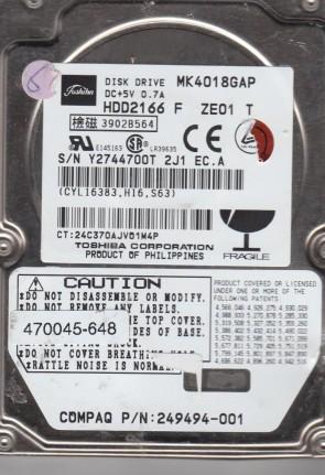 MK4018GAP, A0/M0.03A, HDD2166 F ZE01 T, Toshiba 40GB IDE 2.5 Hard Drive