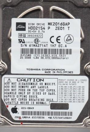 MK2016GAP, E0/U0.31A, HDD2154 P ZE01 T, Toshiba 20GB IDE 2.5 Hard Drive
