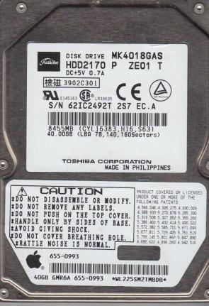 MK4018GAS, A2/Q1.03B, HDD2170 P ZE01 T, Toshiba 40GB IDE 2.5 Hard Drive