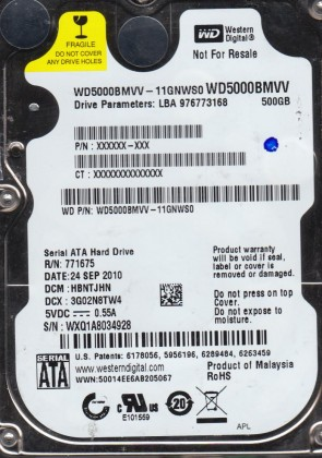 WD5000BMVV-11GNWS0, DCM HBNTJHN, Western Digital 500GB USB 2.5 Hard Drive