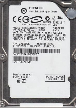 HTS541616J9SA00, PN 0A52995, MLC DA1625, Hitachi 160GB SATA 2.5 Hard Drive