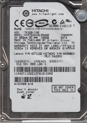 HTS723216L9SA60, PN 0A58903, MLC DA2891, Hitachi 160GB SATA 2.5 Hard Drive