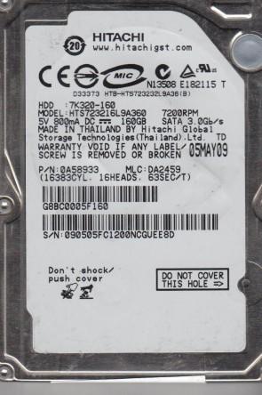 HTS723216L9A360, PN 0A58933, MLC DA2459, Hitachi 160GB SATA 2.5 Hard Drive