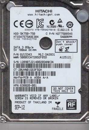 HTS547575A9E384, PN 0J12343, MLC DA3931, Hitachi 750GB SATA 2.5 Hard Drive