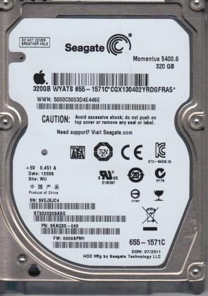 ST9320325ASG, 5VE, WU, PN 9KAG33-043, FW 0009APM1, Seagate 320GB SATA 2.5 Hard Drive