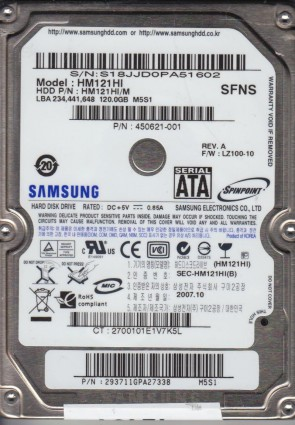 HM121HI, HM121HI/M, FW LZ100-10, M5S1, Samsung 120GB SATA 2.5 Hard Drive