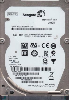 ST250LT003, W04, WU, PN 9YG14C-230, FW 0001SDM1, Seagate 250GB SATA 2.5 Hard Drive