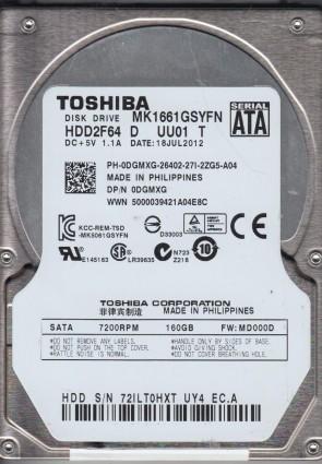 MK1661GSYFN, MD000D, HDD2F64 D UU01 T, Toshiba 160GB SATA 2.5 Hard Drive