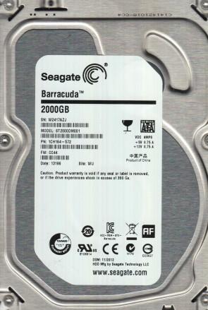 ST2000DM001, W24, WU, PN 1CH164-572, FW CC44, Seagate 2TB SATA 3.5 Hard Drive