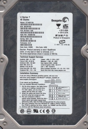 ST340012A, 3KC, AMK, PN 9V1004-640, FW 3.31, Seagate 40GB IDE 3.5 Hard Drive