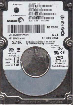 ST94011A, 3KW, AMK, PN 9Y1002-030, FW 3.04, Seagate 40GB IDE 2.5 Hard Drive