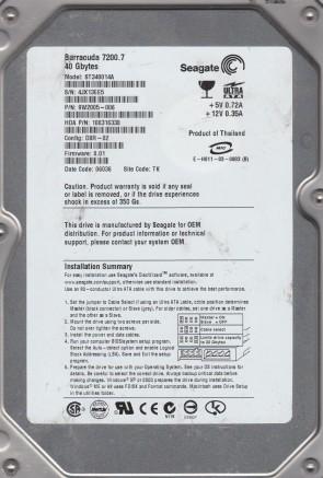 ST340014A, 4JX, TK, PN 9W2005-006, FW 8.01, Seagate 40GB IDE 3.5 Hard Drive