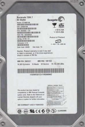 ST340014A, 4JX, TK, PN 9W2005-176, FW 8.10, Seagate 40GB IDE 3.5 Hard Drive