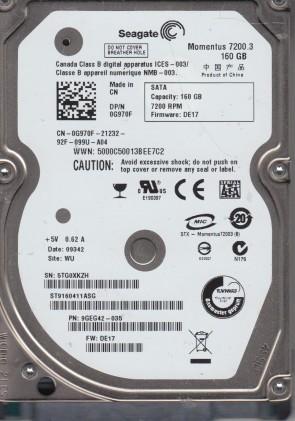 ST9160411ASG, 5TG, WU, PN 9GEG42-035, FW DE17, Seagate 160GB SATA 2.5 Hard Drive