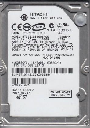 HTS721010G9SA00, PN 0A55744, MLC DA1998, Hitachi 100GB SATA 2.5 Hard Drive