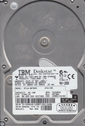 DTLA-307045, PN 07N4115, MLC H31984, IBM 45.1GB IDE 3.5 Hard Drive