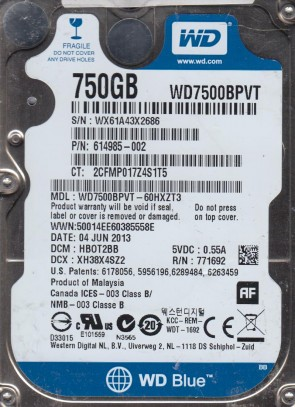 WD7500BPVT-60HXZT3, DCM HBOT2BB, Western Digital 750GB SATA 2.5 Hard Drive