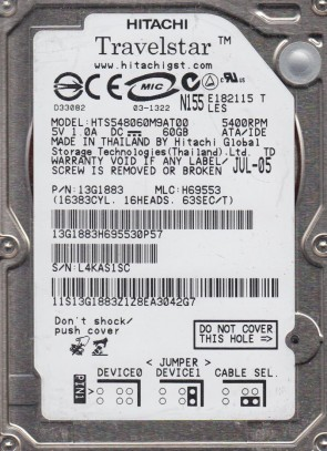 HTS548060M9AT00, PN 13G1883, MLC H69553, Hitachi 60GB IDE 2.5 Hard Drive