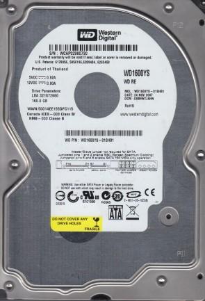 WD1600YS-01SHB1, DCM DBBHNTJAHN, Western Digital 160GB SATA 3.5 Hard Drive