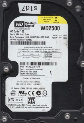WD2500JD-55HBB0, DCM HSBHCTJAH, Western Digital 250GB SATA 3.5 Hard Drive
