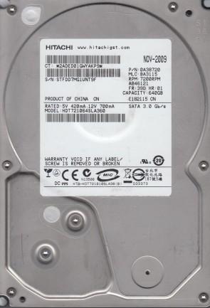 HDT721064SLA360, PN 0A38720, MLC BA3115, Hitachi 640GB SATA 3.5 Hard Drive