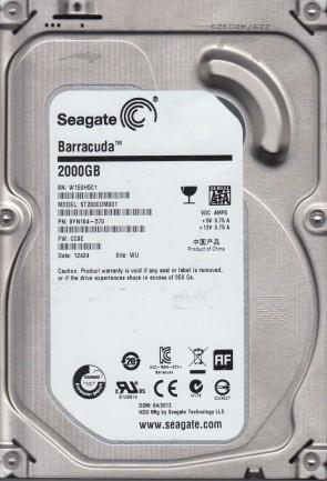 ST2000DM001, W1E, WU, PN 9YN164-570, FW CC9E, Seagate 2TB SATA 3.5 Hard Drive