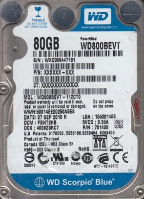 WD800BEVT-11ZCT0, DCM FBNT2HB, Western Digital 80GB SATA 2.5 Hard Drive