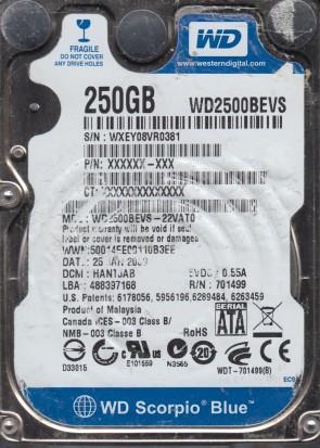 WD2500BEVS-22VAT0, DCM HANTJAB, Western Digital 250GB SATA 2.5 Hard Drive