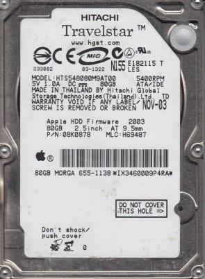 HTS548080M9AT00, PN 08K0878, MLC H69487, Hitachi 80GB IDE 2.5 Hard Drive