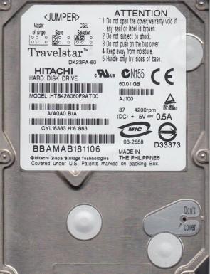 HTS428060F9AT00, DK23FA-60, A/A0A0B/A, Hitachi 60GB IDE 2.5 Hard Drive