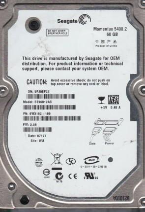 ST96812AS, 5PJ, WU, PN 9W3182-189, FW 3.06, Seagate 60GB SATA 2.5 Hard Drive