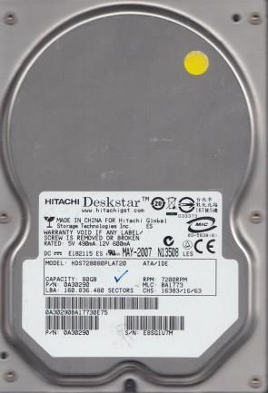 HDS728080PLAT20, PN 0A30290, MLC BA1773, Hitachi 80GB IDE 3.5 Hard Drive