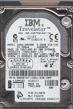 DARA-206000, PN 31L9876, MLC F42375, IBM 6GB IDE 2.5 Hard Drive