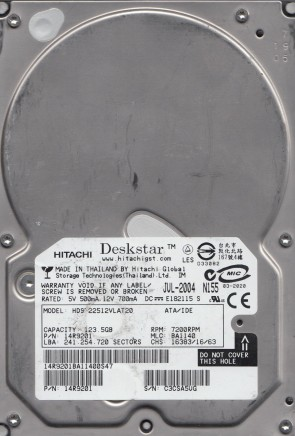 HDS722512VLAT20, PN 14R9201, MLC BA1140, Hitachi 123.5GB IDE 3.5 Hard Drive