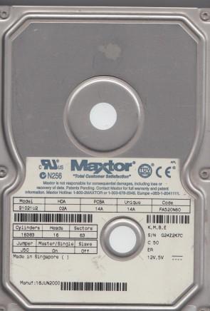 91021U2, Code FA520N60, KMBE, Maxtor 10.2GB IDE 3.5 Hard Drive