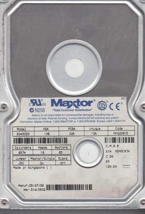 90430D3, Code PAS23B15, CMBB, Maxtor 4.2GB IDE 3.5 Hard Drive