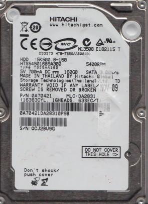 HTS545016B9A300, PN 0A70421, MLC DA2831, Hitachi 160GB SATA 2.5 Hard Drive