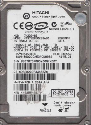 HTS722080K9SA00, PN 0A53436, MLC DA2550, Hitachi 80GB SATA 2.5 Hard Drive