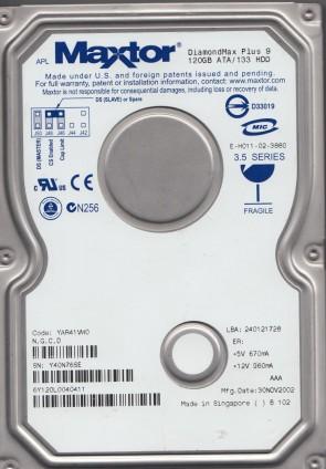 6Y120L0, Code YAR41VW0, NGCD, Maxtor 120GB IDE 3.5 Hard Drive
