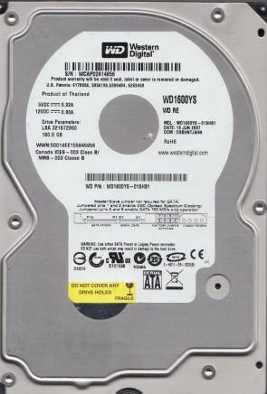 WD1600YS-01SHB1, DCM DSBHNTJAHN, Western Digital 160GB SATA 3.5 Hard Drive
