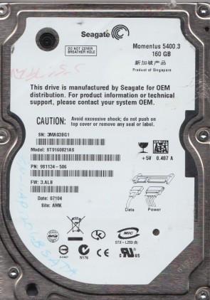 ST9160821AS, 3MA, AMK, PN 9S1134-506, FW 3.ALB, Seagate 160GB SATA 2.5 Hard Drive
