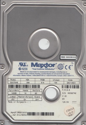 53073H6, Code DAC10SC0, FMBB, Maxtor 30GB IDE 3.5 Hard Drive