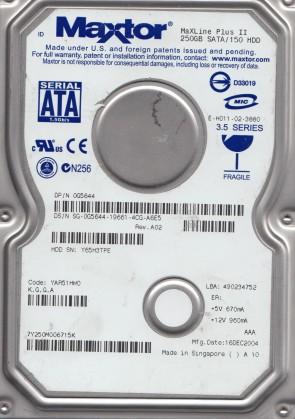 7Y250M0, Code YAR51HW0, KGGA, Maxtor 250GB SATA 3.5 Hard Drive